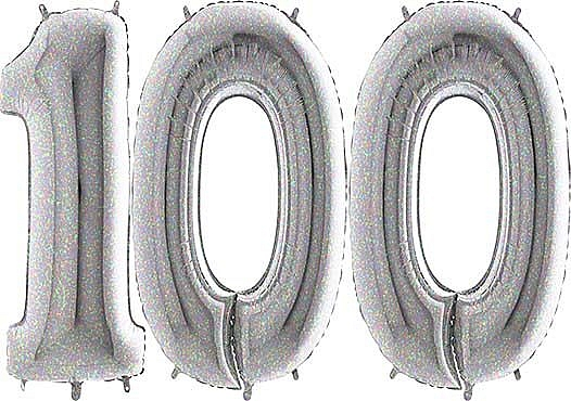 Luftballon Zahl 100 Zahlenballon silber-holographic (100 cm)