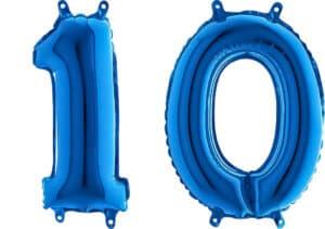 Luftballon Zahl 10 Zahlenballon blau (66 cm)