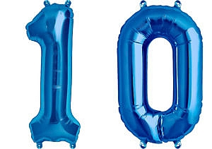 Luftballon Zahl 10 Zahlenballon blau (86 cm)