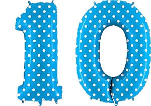 Luftballon Zahl 10 Zahlenballon blau mit weißen Punkten (100 cm)