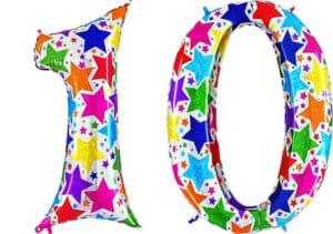 Luftballon Zahl 10 Zahlenballon silber mit bunten Sternen (100 cm)