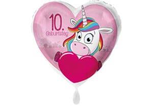 Einhorn-Luftballon mit Herz und Zahl 10 pink (38 cm)