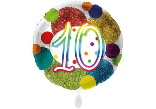 Glitzer-Luftballon mit der Zahl 10 in bunt (38 cm)