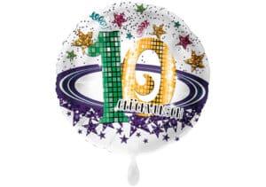Runder Luftballon mit Glitzersternen und Zahl 10 in weiß (38 cm)