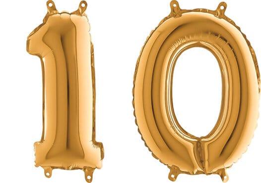Luftballon Zahl 10 Zahlenballon gold (66 cm)