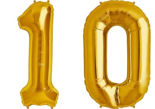 Luftballon Zahl 10 Zahlenballon gold (86 cm)