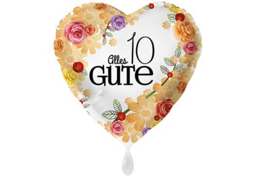 Herzluftballon mit Rosen Alles Gute Zahl 10 weiß (38 cm)
