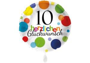 Runder Luftballon mit bunten Punkten Herzlichen Glückwunsch Zahl 10 weiß (38 cm)