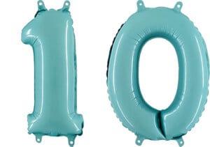 Luftballon Zahl 10 Zahlenballon pastell-blau (100 cm)