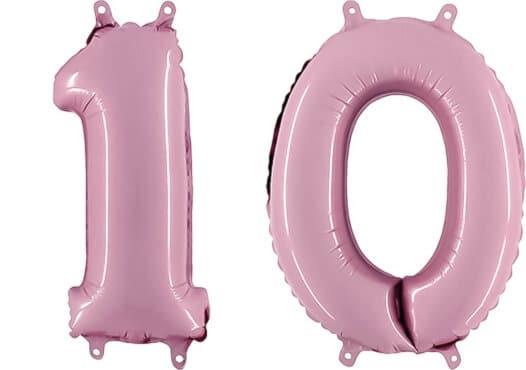 Luftballon Zahl 10 Zahlenballon pastell-pink (100 cm)