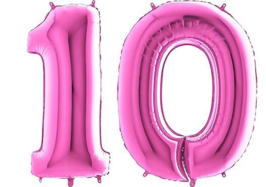Luftballon Zahl 10 Zahlenballon pink (66 cm)