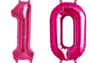 Luftballon Zahl 10 Zahlenballon pink (86 cm)