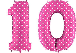 Luftballon Zahl 10 Zahlenballon pink mit weißen Punkten (100 cm)