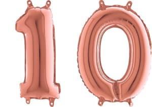 Luftballon Zahl 10 Zahlenballon rosegold (66 cm)