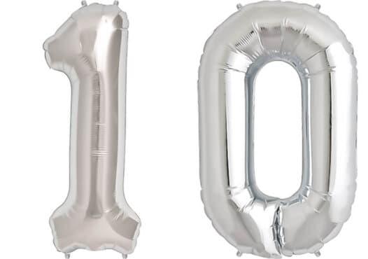Luftballon Zahl 10 Zahlenballon silber (86 cm)