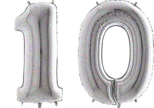 Luftballon Zahl 10 Zahlenballon silber-holographic (100 cm)