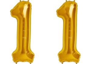 Luftballon Zahl 11 Zahlenballon gold (86 cm)