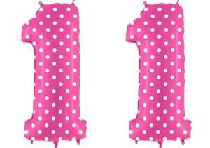 Luftballon Zahl 11 Zahlenballon pink mit weißen Punkten (100 cm)