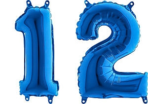 Luftballon Zahl 12 Zahlenballon blau (66 cm)