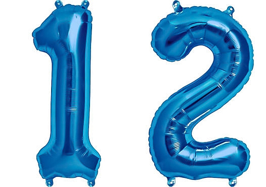 Luftballon Zahl 12 Zahlenballon blau (86 cm)