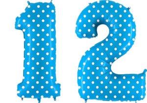 Luftballon Zahl 12 Zahlenballon blau mit weißen Punkten (100 cm)