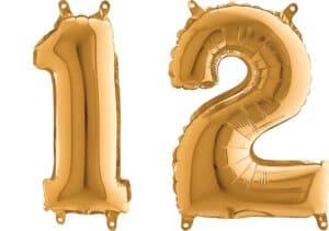 Luftballon Zahl 12 Zahlenballon gold (66 cm)