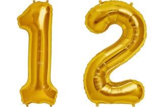 Luftballon Zahl 12 Zahlenballon gold (86 cm)