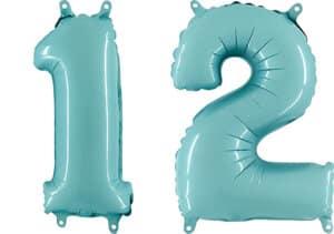 Luftballon Zahl 12 Zahlenballon pastell-blau (100 cm)