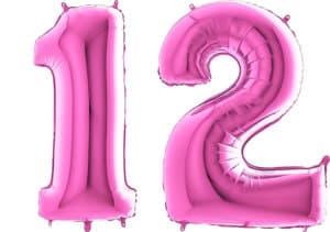 Luftballon Zahl 12 Zahlenballon pink (66 cm)