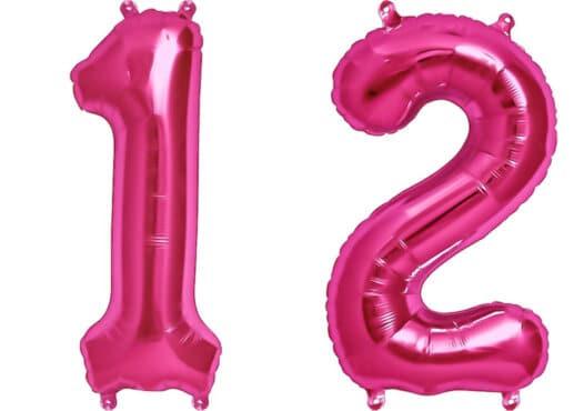 Luftballon Zahl 12 Zahlenballon pink (86 cm)