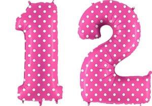 Luftballon Zahl 12 Zahlenballon pink mit weißen Punkten (100 cm)