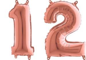 Luftballon Zahl 12 Zahlenballon rosegold (66 cm)