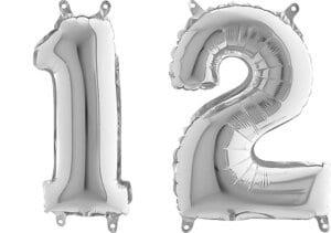 Luftballon Zahl 12 Zahlenballon silber (66 cm)