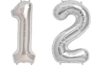 Luftballon Zahl 12 Zahlenballon silber (86 cm)