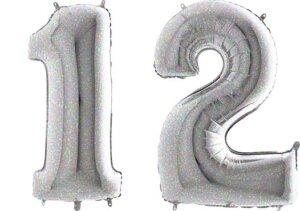 Luftballon Zahl 12 Zahlenballon silber-holographic (100 cm)