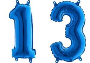 Luftballon Zahl 13 Zahlenballon blau (66 cm)