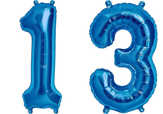 Luftballon Zahl 13 Zahlenballon blau (86 cm)