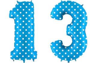 Luftballon Zahl 13 Zahlenballon blau mit weißen Punkten (100 cm)