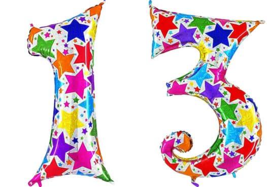 Luftballon Zahl 13 Zahlenballon silber mit bunten Sternen (100 cm)
