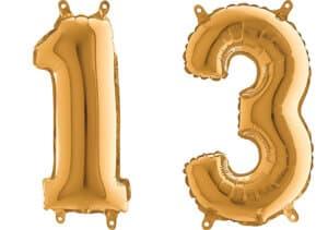 Luftballon Zahl 13 Zahlenballon gold (66 cm)