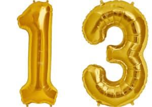 Luftballon Zahl 13 Zahlenballon gold (86 cm)