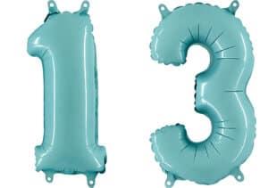 Luftballon Zahl 13 Zahlenballon pastell-blau (100 cm)