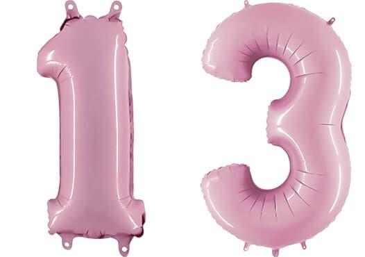 Luftballon Zahl 13 Zahlenballon pastell-pink (100 cm)