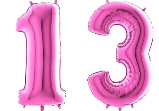 Luftballon Zahl 13 Zahlenballon pink (66 cm)
