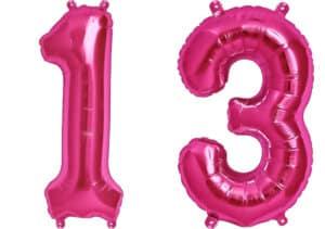 Luftballon Zahl 13 Zahlenballon pink (86 cm)