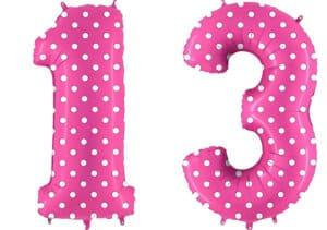 Luftballon Zahl 13 Zahlenballon pink mit weißen Punkten (100 cm)