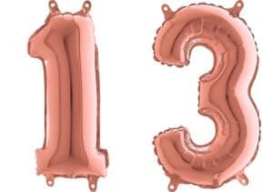 Luftballon Zahl 13 Zahlenballon rosegold (66 cm)