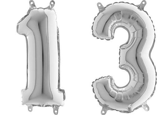 Luftballon Zahl 13 Zahlenballon silber (66 cm)