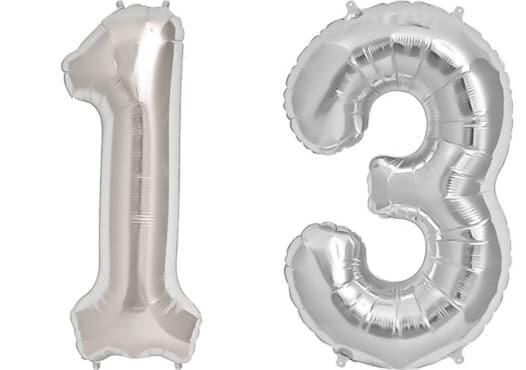 Luftballon Zahl 13 Zahlenballon silber (86 cm)
