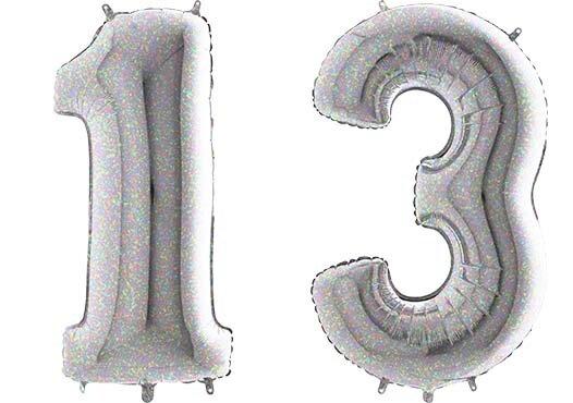 Luftballon Zahl 13 Zahlenballon silber-holographic (100 cm)